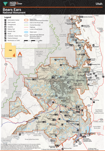 Map of Bears Ears National Monument before acreage cuts.
