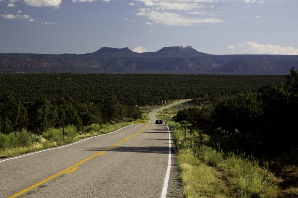 A paved road leads to Bears Ears National Monument
