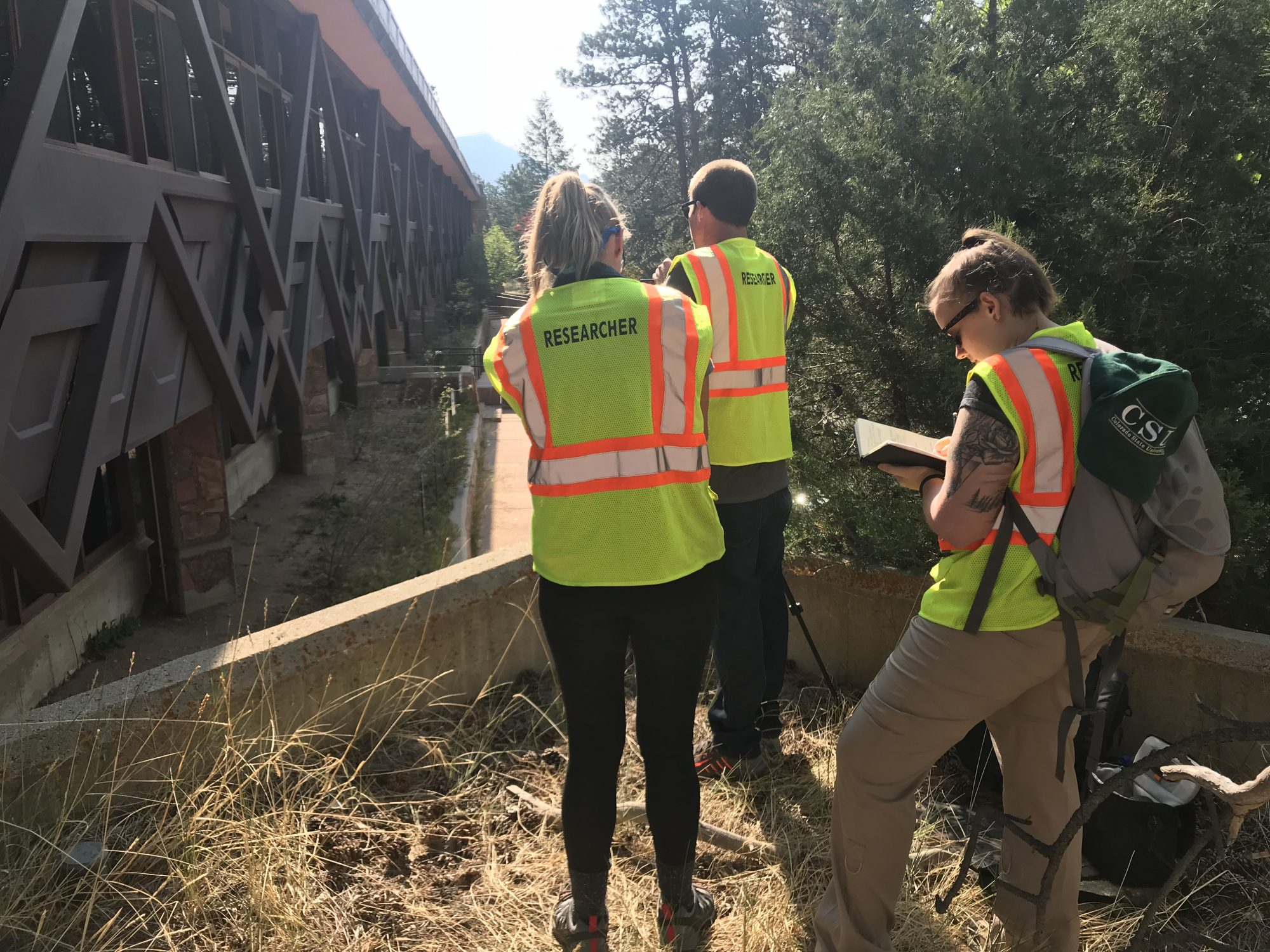 Participants Carly Boerrigter, Daniel Gilbert, and Kylee Cole at PPL 2018 rephotographing the Beaver Meadows Visitor Center in Rocky Mountain National Park.