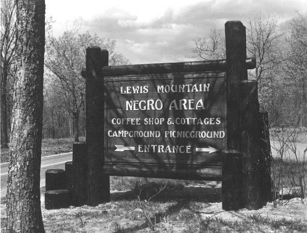 Segregation signage outside Lewis Mountain picnic area.
