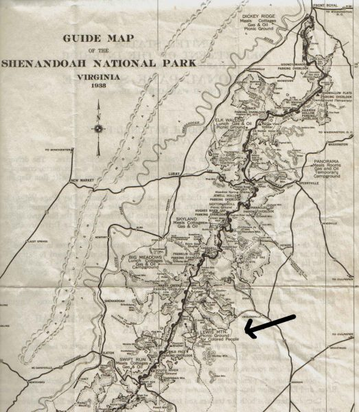 Segregation map of Shenandoah's facilities. A black arrow points to Lewish Mountain Picnic Ground for Colored People.