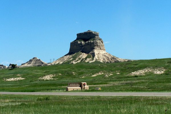 Scotts Bluff, a large striped sandstone rock formation, juts above the plains of western Nebraska at Scotts Bluff National Monument