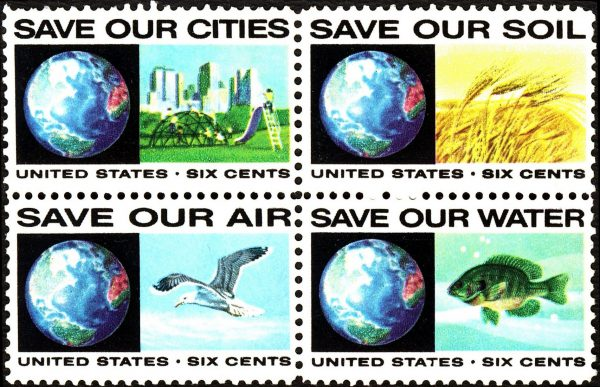 Images of four six cent US stamps from the 1970s around the time of the Endangered Species Act. Images show earth and a city park, earth and a wheat field, earth and a flying bird, and earth and a fish.