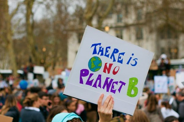 Image of environmental protest. One protester holds a sign that reads there is no planet B.