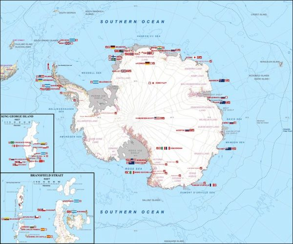 Map of research bases in Antarctica with nationality information.