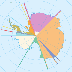 Image of Antarctica land claims. Claims are the shape of pie slices, centered at the north pole.