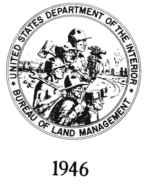 BLM logo is 1946, showing industrial workers and resource extraction.