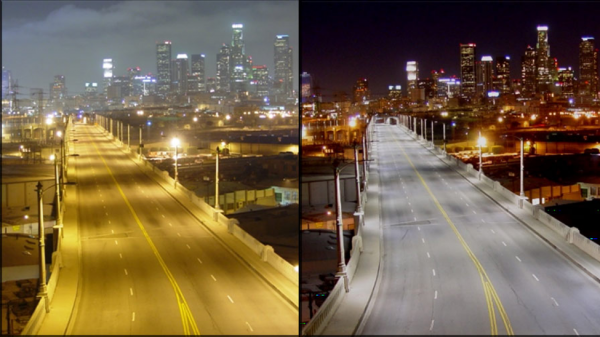 Los Angeles' dark night sky before and after measures to limit light pollution