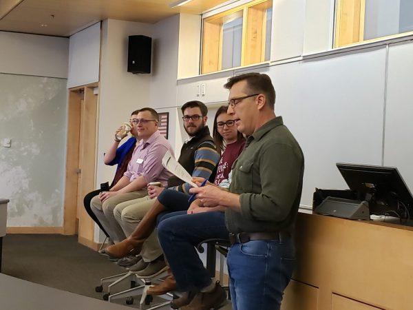 RMHS teacher, Kurt Kneirim, moderates the career panel.