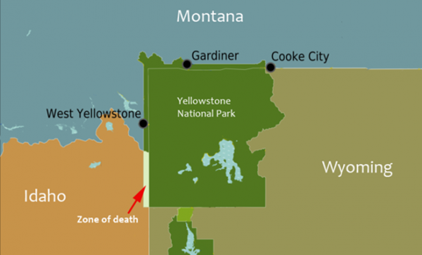 Map of Yellowstone National Park showing the park's overlap across several state borders.