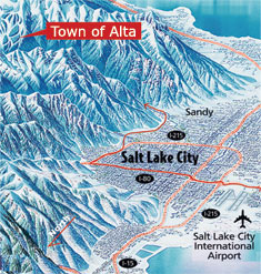 Map showing the town of Alta's proximity to Salt Lake City, UT.