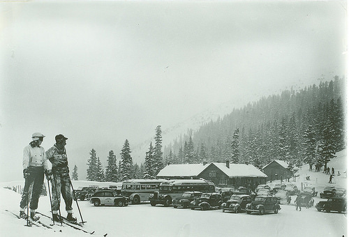 Image of Berthoud Pass ski area from the early years of the ski industry.