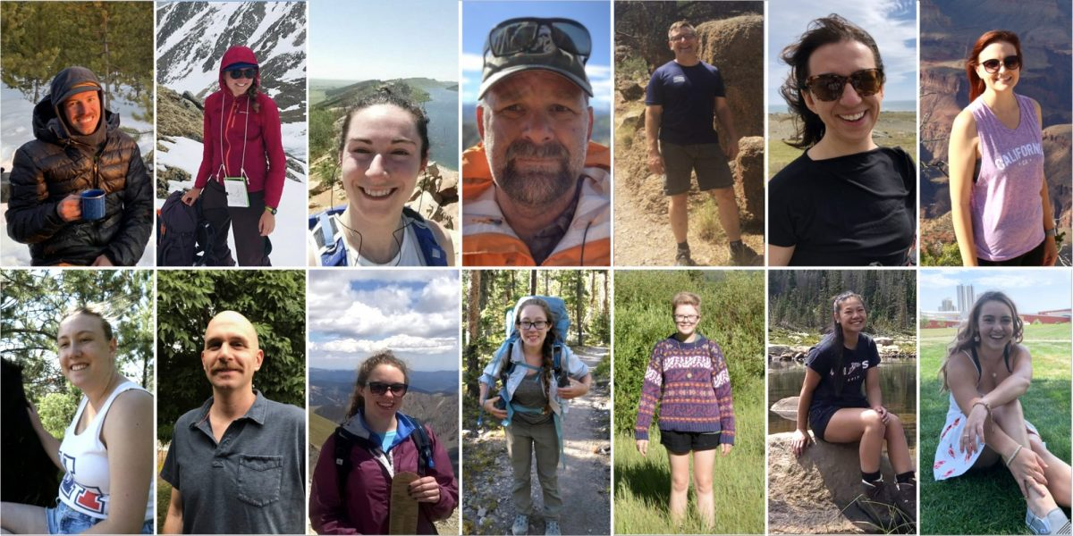 A collage of images of people outdoors.
