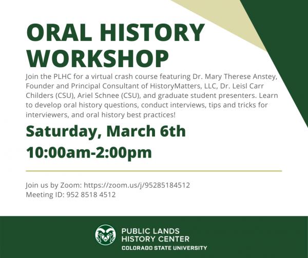 Virtual Oral History Workshop, Saturday March 6, 10:00-2:00