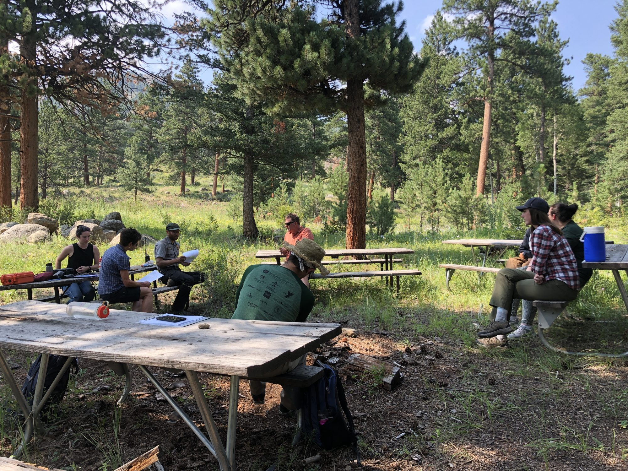 PPL 2021 participant conduct an oral interview with a seasonal ranger at Rocky Mountain National Park and Ruth Alexander, professor emeritus.