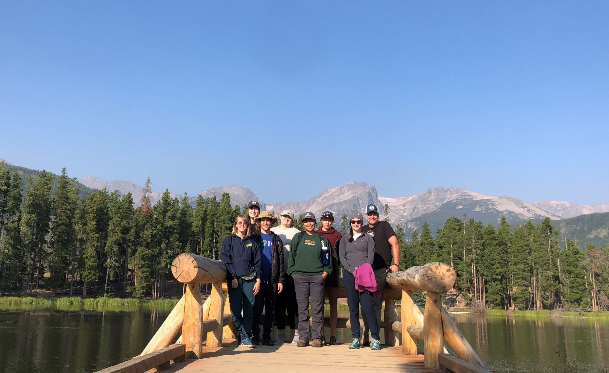 PPL 2021 Group Photo. From left back row to right: Paige Rooney, Jacie Rex, Amber Scott, Mike Childers (CSU History Faculty), Taylor Lapoint, Shaun Rose, Kristy Ornelas, Ariel Schnee (Public Lands History Center Program Manager).
